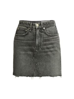Itty Bitty Frayed Hem Denim Mini Skirt