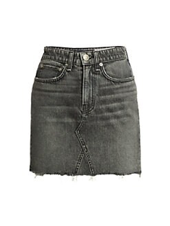 랙앤본 데님 미니 스커트 Rag & Bone Itty Bitty Frayed Hem Denim Mini Skirt,Black