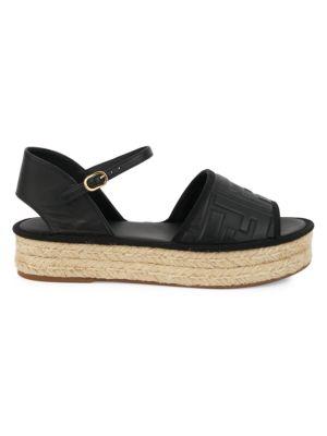 FF-Embossed Leather Espadrille Sandals