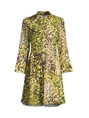 Ombre Animal-Print Tie-Waist Dress