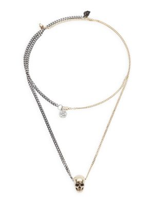 Skull Goldtone & Silvertone Layered Chain Necklace