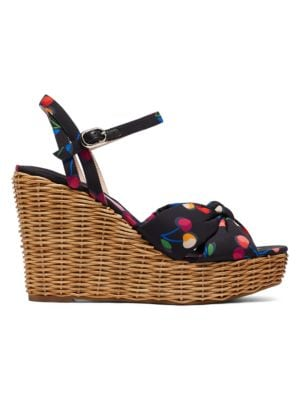 Anita Cherry-Print Satin & Raffia Wedge Sandals