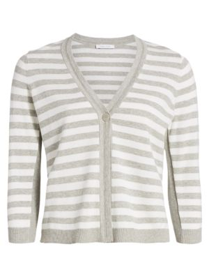 Petite Stripe Cotton Cardigan