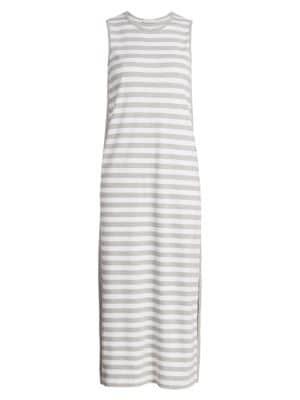 Petite Stripe Cotton Midi Dress