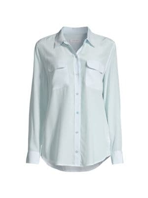 Signature Slim Silk Button-Front Blouse