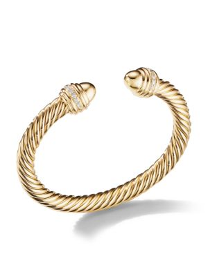 Cable 18K Yellow Gold & Diamond Bracelet