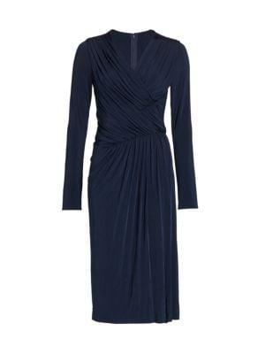 Evening Gathered Draped Jersey Sheath Dress