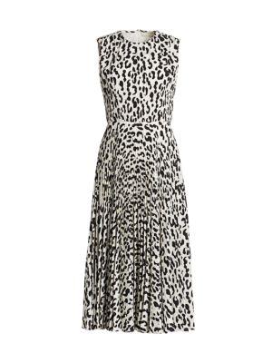 Snow Leopard-Print Sleeveless Crepe Dress