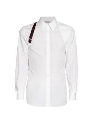 Logo Tape Harness Stretch-Cotton Shirt