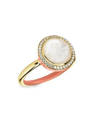Lollipop Carnevale 18K Yellow Gold, Mother-Of-Pearl Doublet & Diamond Ring