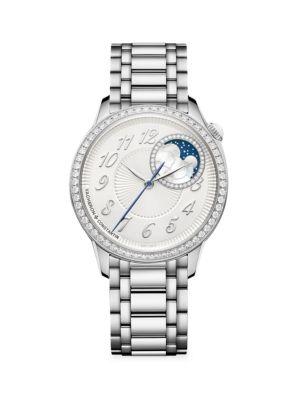 Egérie Stainless Steel & Diamond Bracelet Moon Phase Watch
