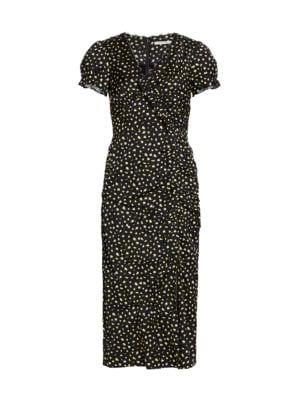 Gathered Ruffle Cap-Sleeve Dress
