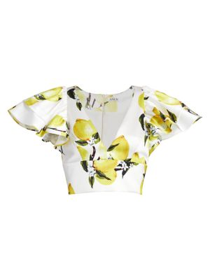 Ruffle-Sleeve Lemon Cropped Top