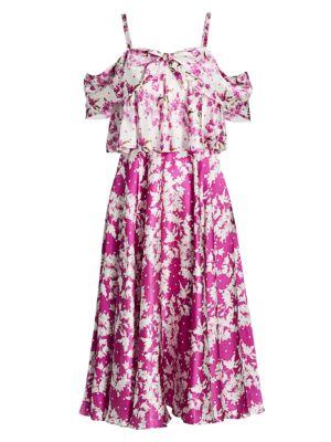 Off-The-Shoulder Popover Waist Dress