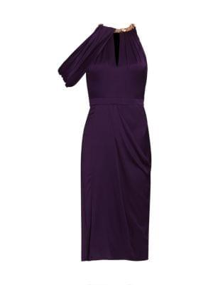 One Shoulder Silk Draped Dress
