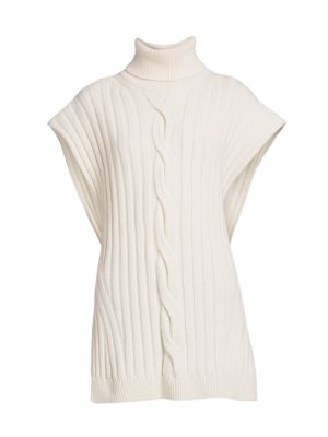 Cable Knit Sleeveless Turtleneck Sweater