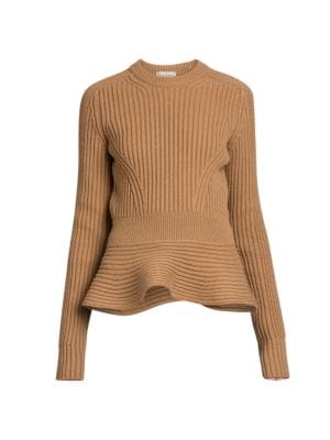 Ribbed Peplum Crewneck Sweater