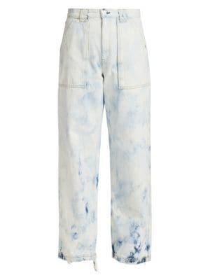 Skater High-Rise Acid-Wash Straight-Leg Jeans