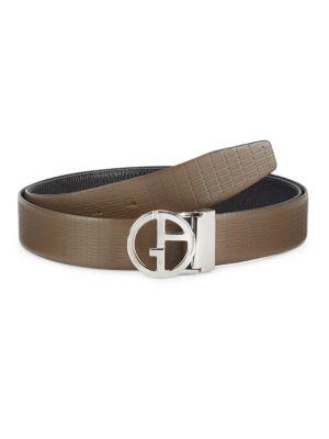 Silvertone Logo Leather Belt