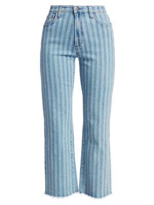 Blake High-Rise Striped Straight Jeans