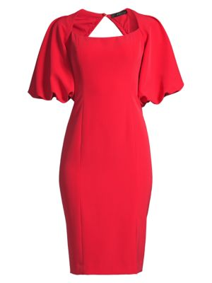 Exaggerate Puff-Sleeve Cocktail Dress