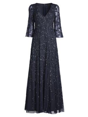 Floral Beaded V-Neck Gown