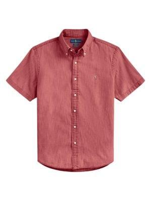 Short-Sleeve Chambray Sport Shirt