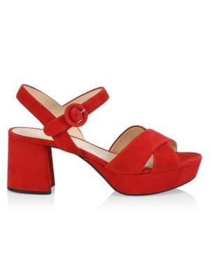 Crisscross Suede Platform Sandals