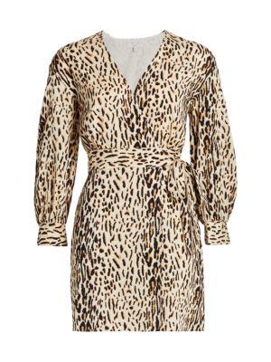 Jadie Leopard Wrap Mini Dress