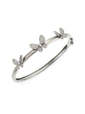 Black Rhodium-Plated & Diamond Butterfly Bangle Bracelet