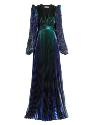 Pleated Lamé Puff-Sleeve Gown