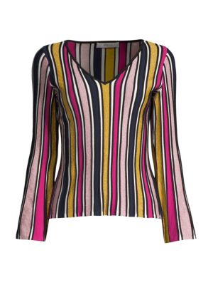 Stripe Ribbed Bell-Sleeve Top