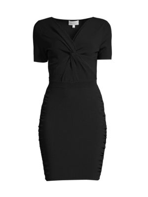 Twist-Front Short-Sleeve Dress