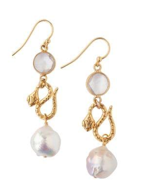 11-12mm White Akoya Baroque Pearl Drop Earrings
