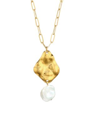 18K Goldplated & & 9-10MM Kesha Pearl Hammered Pendant Chain Necklace