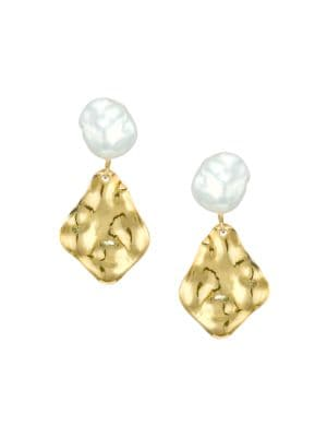 Hammered 18K Goldplated & 9-10MM Keshi Pearl Drop Earrings