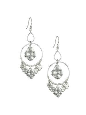 Hammered Sterling Silver Double Hoop Charm Earrings