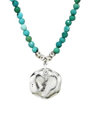 Mixed Turquoise & Sterling Silver Pendant Beaded Necklace