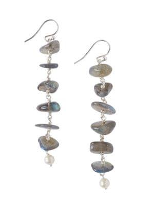 4.5MM-5MM White Freshwater Pearl Labradorite Linear Drop Earrings