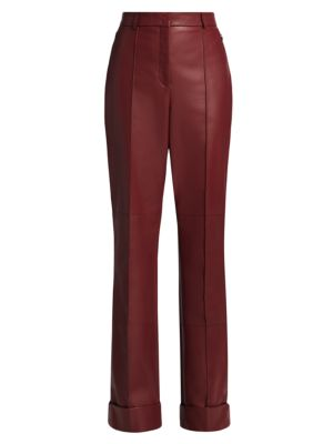 Flore Leather Straight-Leg Pants