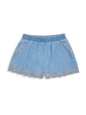 Little Girl's & Girl's Isabella Embroidery Tencel Shorts