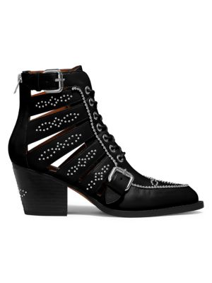 Paisley Studded Cutout Leather Ankle Boots