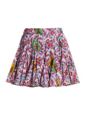 Hilary Paisley High-Waist Mini Skirt