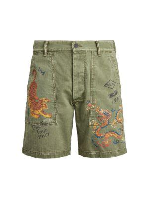 Cotton-Herringbone Army Shorts