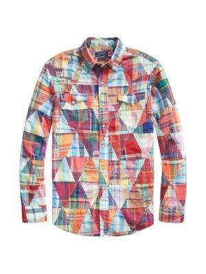 Long-Sleeve Patchwork Madras Sport Shirt