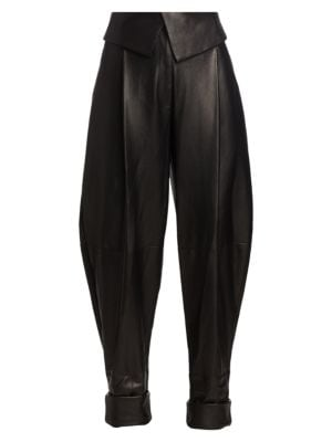 Exaggerated Leather Pants
