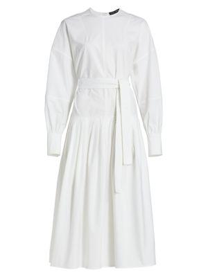 Cotton Belted Midi Dress