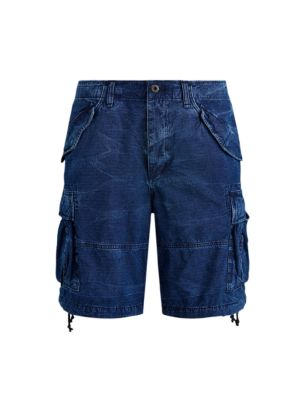 Washed Cotton Ripstop Cargo Shorts