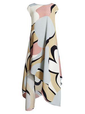 Petal Pleats Asymmetric Maxi Dress