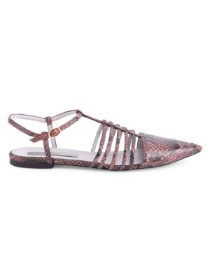 Python-Embossed Cage Ballet Flats